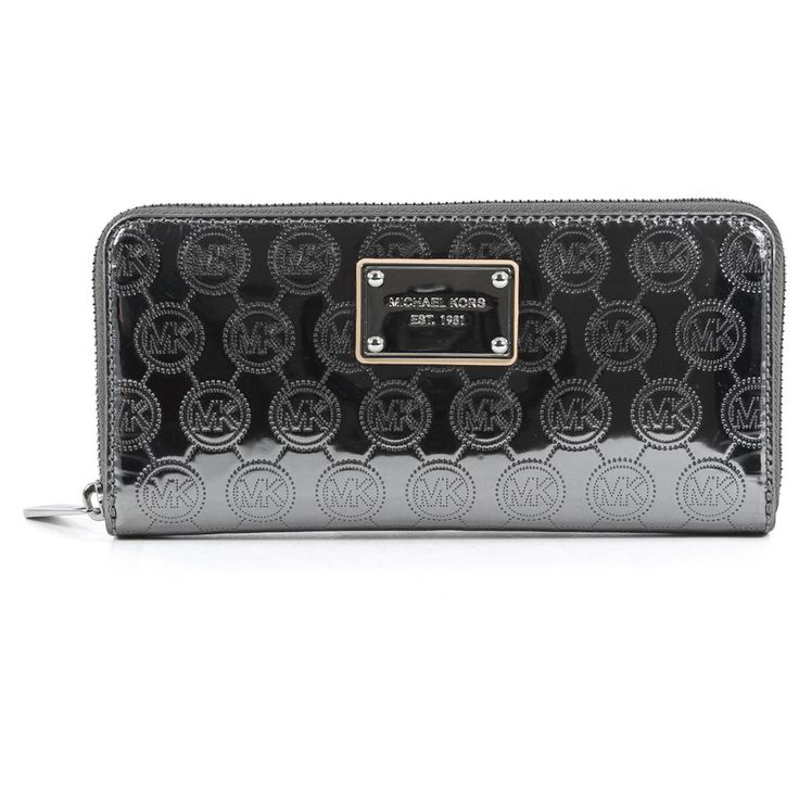 Michael Kors Jet Set Zip Around Continental Wallet Mirror Metallic Nickel  Zip around opens accordion style to four full length bill .