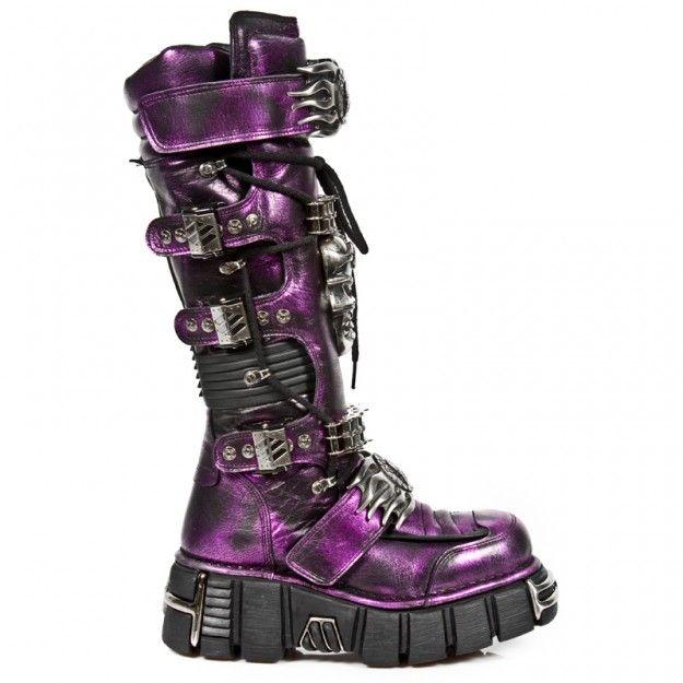 Armure Bottes De Piste Lilas Nouveau Rock Noir Violet zL1knk5qIw