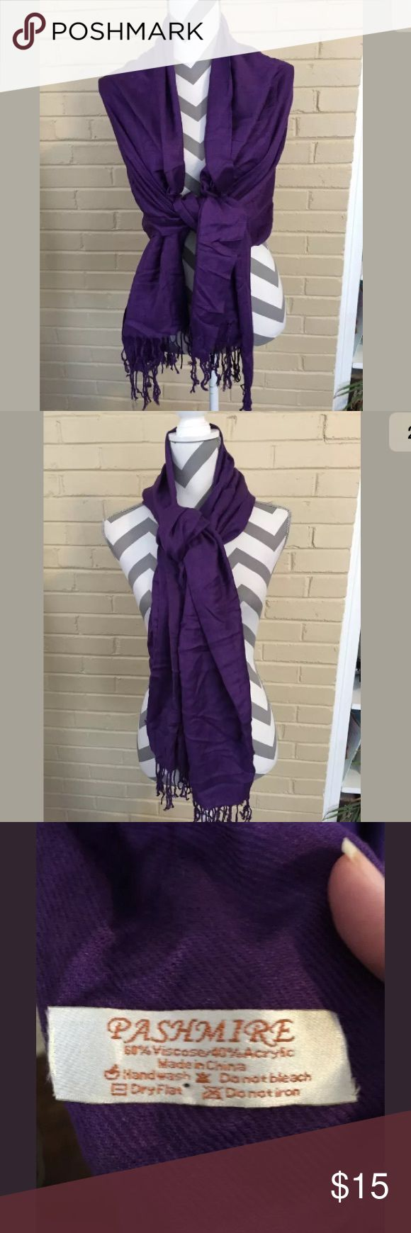 Purple Pashmine Scarf or Wrap with Fringe Large Lovely purple pashmine wrap or scarf perfect for winter weather! Can be worn multiple ways. Gorgeous piece!   We love to bundle! Pashmine Accessories Scarves & Wraps