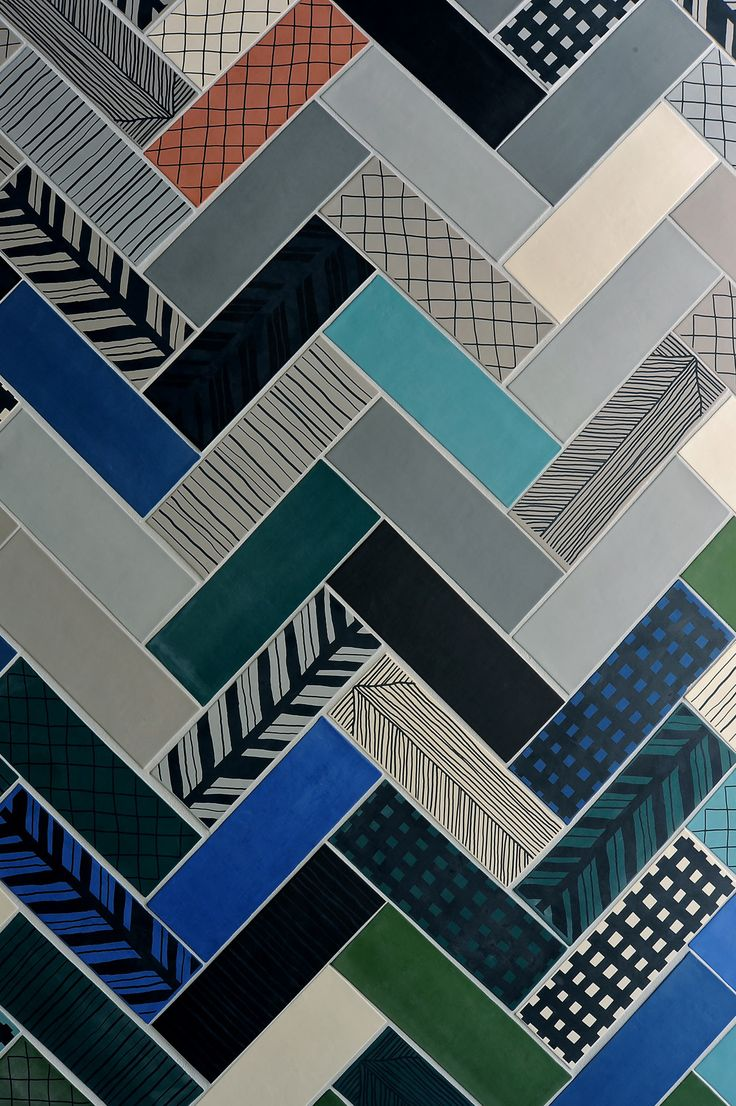 ORNAMENTA OBSESSION, Ceramics of Italy, houndstooth meets cardboard meets tile.