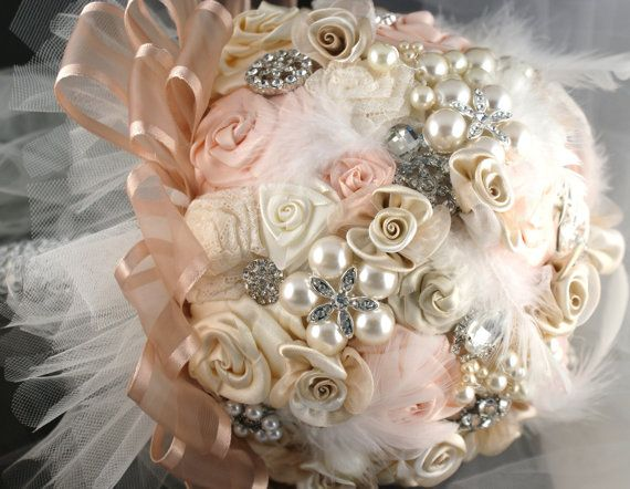Brooch Bouquet, Wedding, Bridal, Jeweled, Blush, Cream, Ivory, Lace, Feathers…