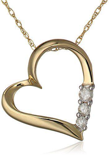 "10k Yellow Gold and Diamond Three-Stone Heart Pendant Necklace (1/10 cttw, I-J Color, I2-I3 Clarity), 18"""