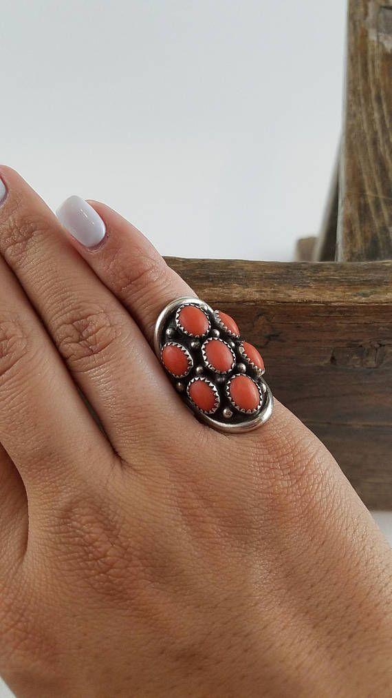 Coral grand anneau signé amérindien Bague Corail taille 5.5