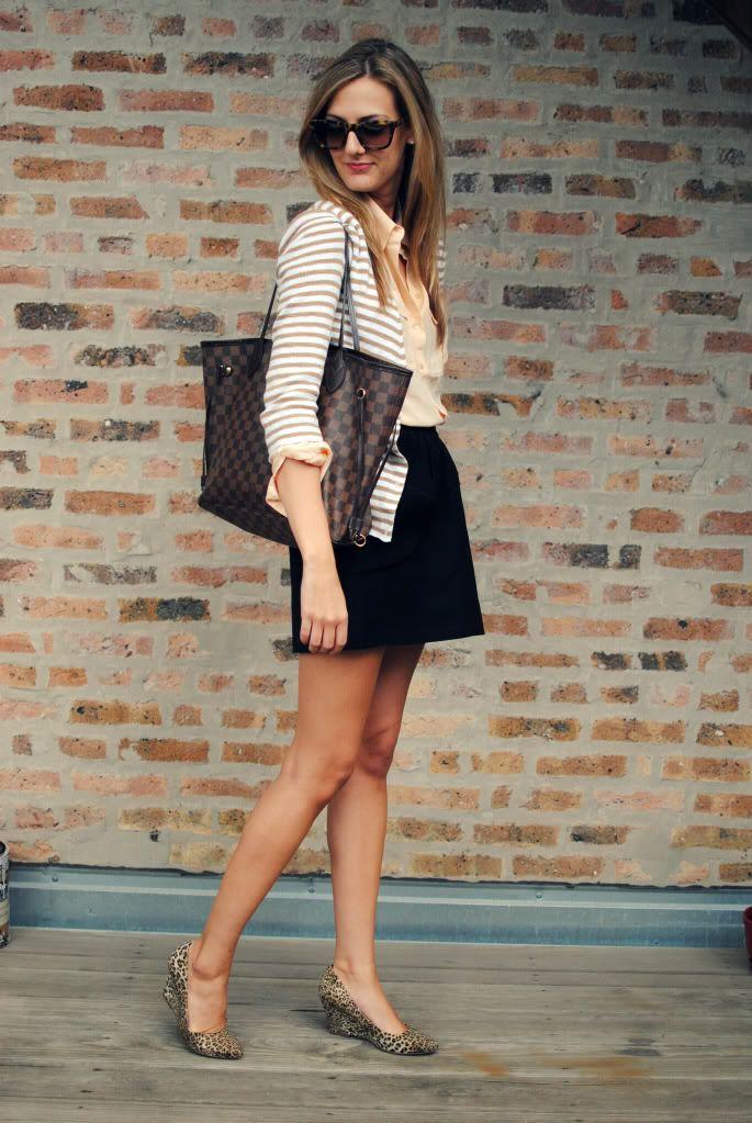 Black pencil skirt, silk button-down, striped cardigan, animal-print pumps.