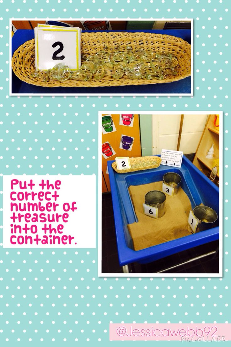 Put the correct number of treasure into the containers.