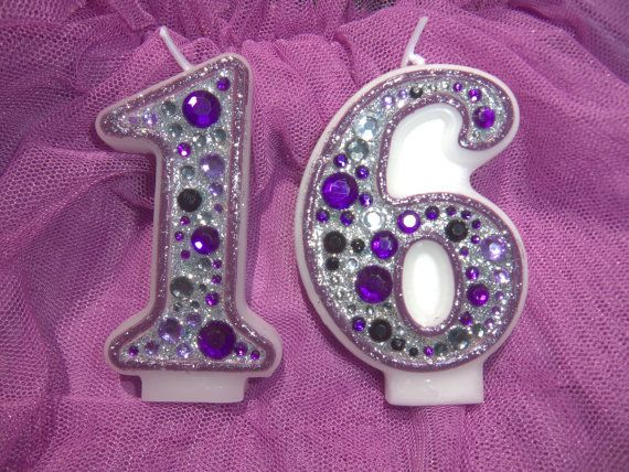 Purple and black sweet sixteen candles by GlitterWishesbyKara, $16.00