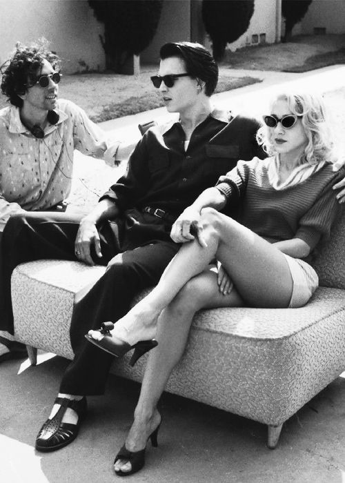 Tim Burton, Johnny Depp and Sarah Jessica Parker on the set of Ed Wood