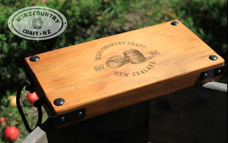 Native New Zealand Rimu platter, crafted with bail handles, iron clavos, butchers corners and personalised laser engraving.