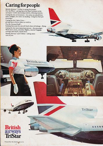 British Airways Tristar brochure - back page [rear cover] #travel #alookat #airlines