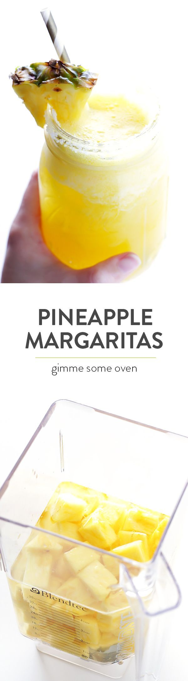 Fresh Pineapple Margaritas -- quick and easy to make, and so delicious and refreshing! | http://gimmesomeoven.com