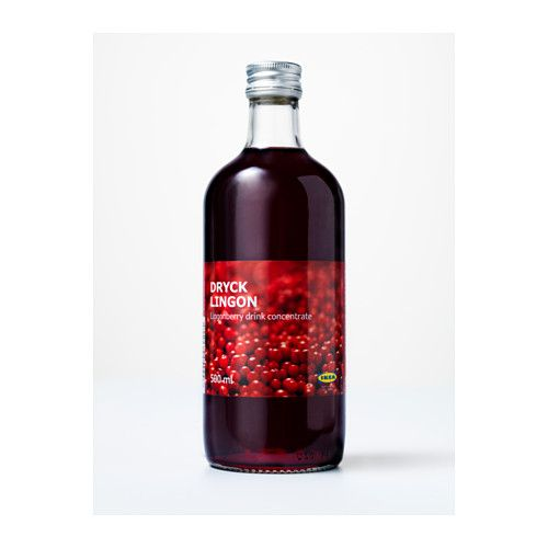 IKEA - DRYCK LINGON, Lingonberry syrup, Lingonberries grow wild in many ancient forests throughout the Northern hemisphere. Mix with water (1:6) as a table drink, or use as the base in different drinks.