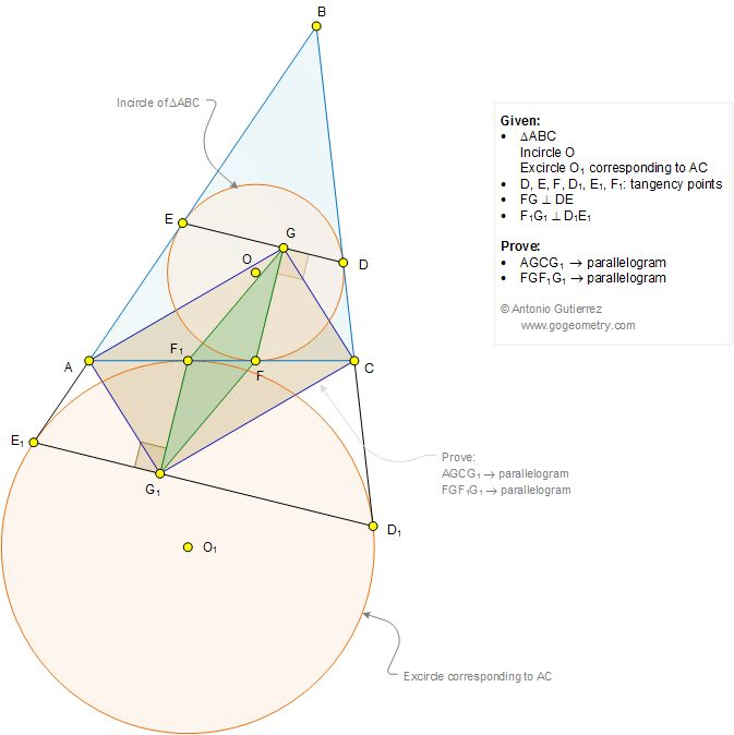 Geometry Problem 1267: Triangle, Incircle, Excircle, Circle, Tangency Points, Perpendicular, 90 Degrees, Parallelogram