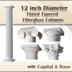 12″ Round Fluted Tapered Fiberglass Columns