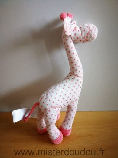 Doudou Girafe Tape à l oeil Rose etoiles