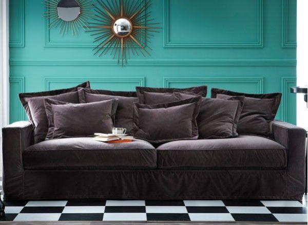a la fois contemporain par sa forme et confortable avec son revtement en velours ce velvet sofacanapessalonsfamily - Salon Canape Moderne