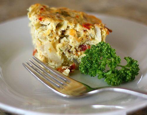 Baked Frittata with Artichokes, Sun Dried Tomatoes, & Feta Cheese #frittata #eggs #vegetarian