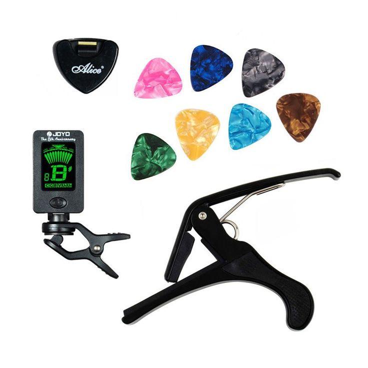 ツールキットギターチューナー+カポ+バチホルダー+ 7セルロイドピックチューニングcapotrasteメディエーターケース·ド·ギターパーツアクセサリー