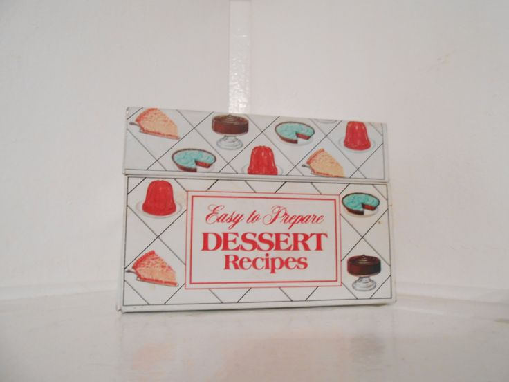 Vintage Metal Recipe Box / Nabisco Brands Easy to Prepare Dessert Recipe Cards by MissMarigolds on Etsy