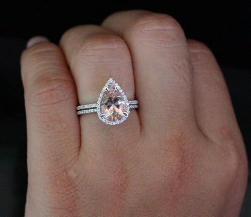 Morganite Engagement Ring Pear Morganite Wedding Ring Set 14k White Gold with