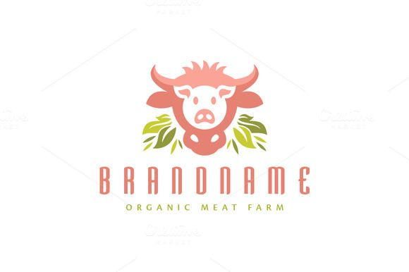 For sale. Only $29 - animal, leaf, bull, natural, food, horn, farm, organic, meal, head, cow, feed, grass, cattle, pig, pork, beef, meat, swine, hog, butchery, slaughter, cooking, catering, restaurant, agriculture, biotechnology, veterinary, pink, green, logo, design, template,