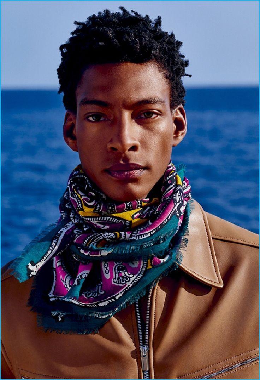 Venturing outdoors, Ty Ogunkoya stars in Hermès' fall-winter 2016 Cravates lookbook.