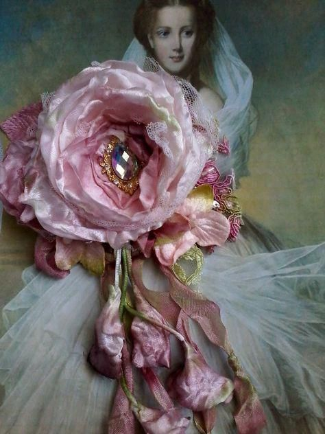 a1e5e6a16 large tattered pink shabby chic rose booch, whimsical hair flower, wedding  corsage, fairy brooch, floral posy pin, mother of the bride