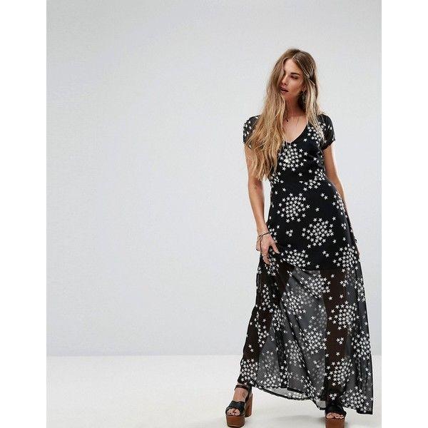 Liquorish Maxi Dress In Mini Star Print (49 AUD) ❤ liked on Polyvore featuring dresses, black, bodycon dresses, v neck maxi dress, tall maxi dresses, sequin bodycon dress and maxi dresses