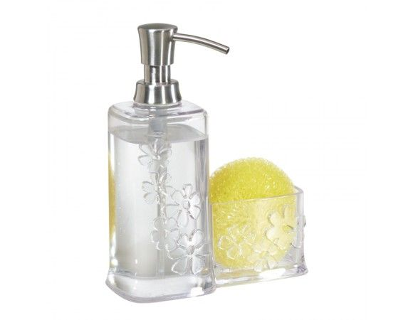 Blumz Soap The Blumzル soap and scrubber caddy provides a classy way to hold your soap and scrubber or sponge. Made of clear plastic so the liquid level is easily viewable.ᅠThe fun flower design matches the other products in the Blumzル line. The soap and sponge can be replaced in this versatile caddy with lotion and your favorite bar of soap and used in the bathroom.