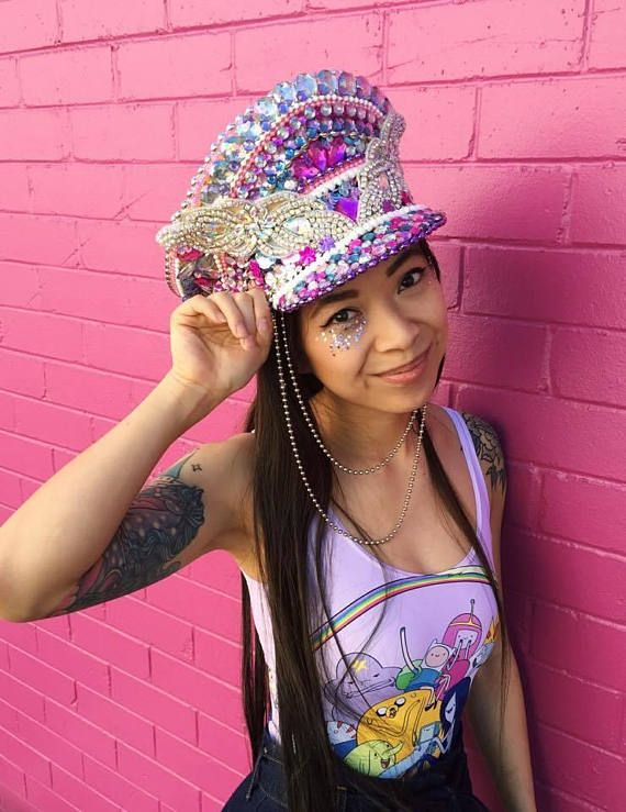 b346e06ba34 Burning Man Barbie Festival Captain s Hat Iridescent Glitter ...