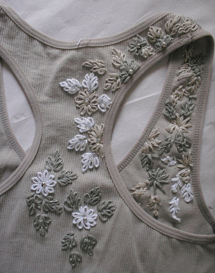 hand embroidered, front and back, light gray, with beads and sequins / pearls XL size /