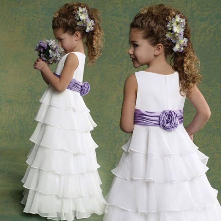 Цветок Девочки Платья Для Свадеб белый Рукавов scoop пят-Линии шифон с фиолетовый Цветок пояса Платье De Noiva