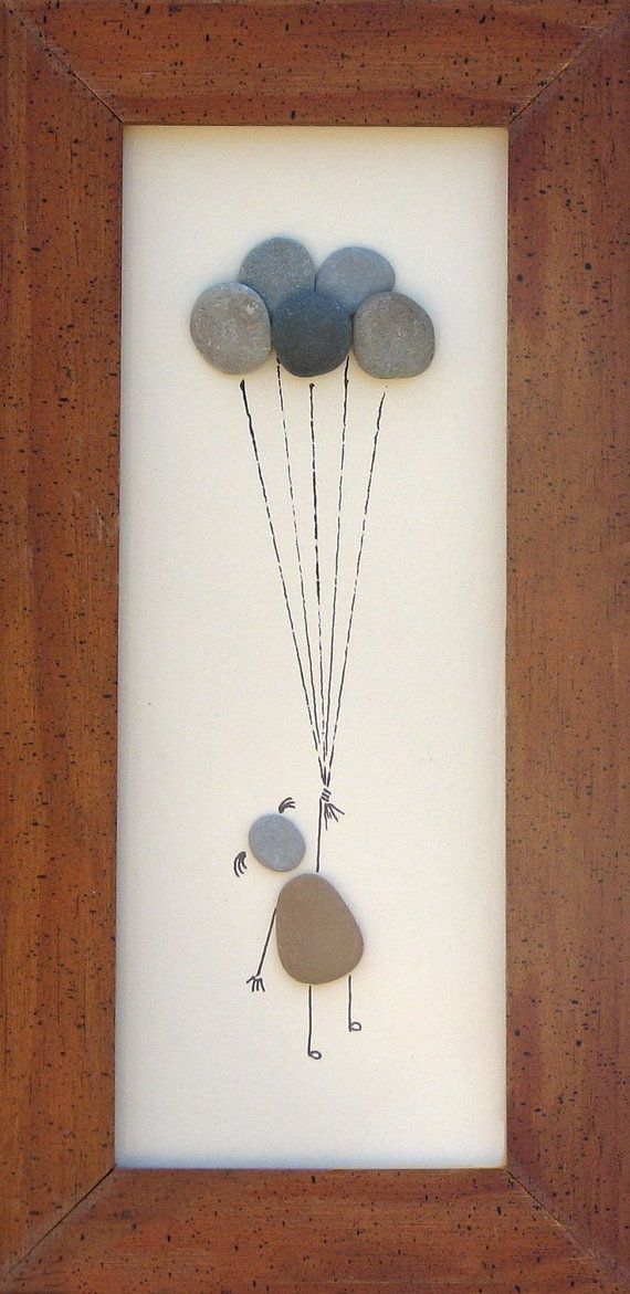 3169408924981972781 Beach Pebble Art Stone Pictures Up Up and by PumpkinandParsnip, $55.00