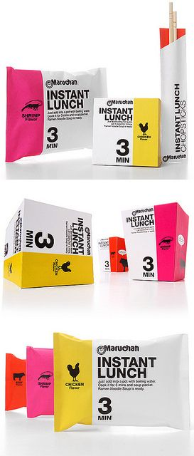 This product and packaging would satisfy me aesthetically and digestively! This is a great packaging concept for Maruchan by student Kota Kobayashi. Minimal, direct, bold, simple... awesome! Great colors, icons and numerals.