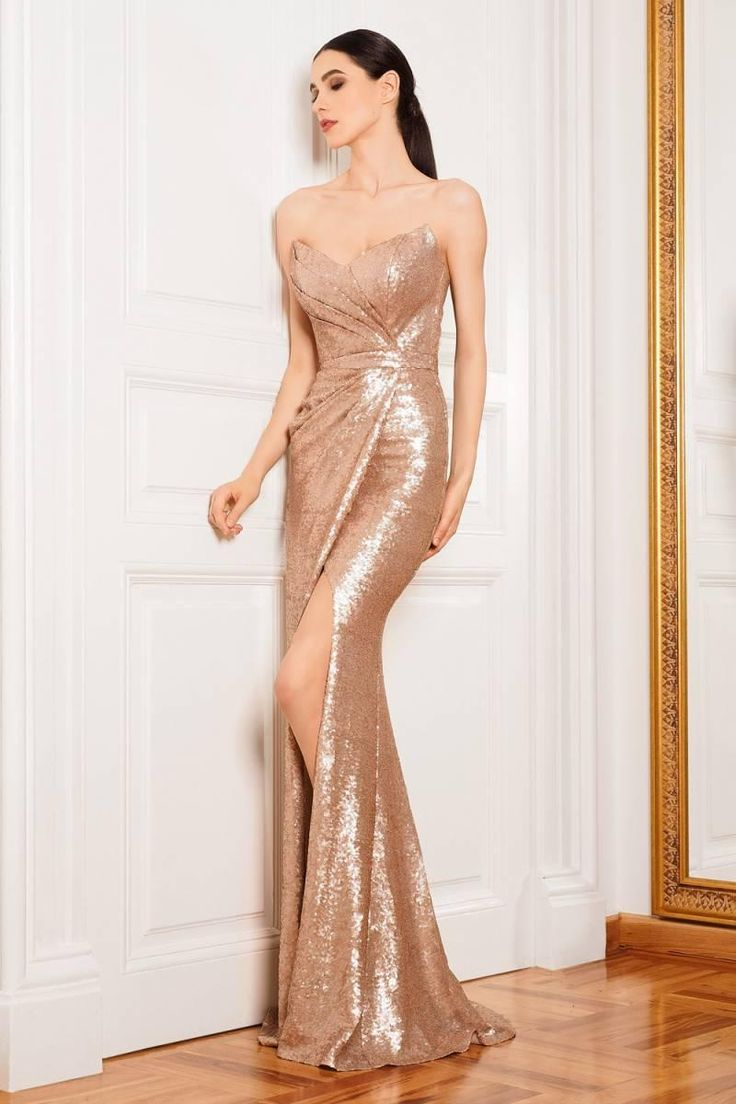 Prom Dresses 2016 Sexy Mermaid Bling Rose Gold Sequins Side Split Zipper Back Floor Length Cheap Arabic Evening Gowns Bridesmaid Party Dress
