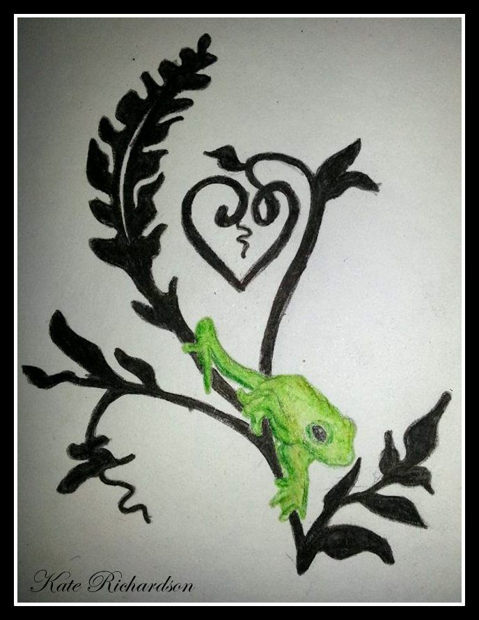 Tattoo design of tree frog on vine third style.  you are welcome to use this as a tattoo. the only condition is that you tell me that you are using it, not change the design and send me a photo of it!   also it is not to be used for profit in any way and please give credit where it is due. thanks.