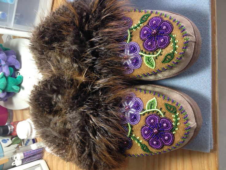 Women's Purple Flower Slippers with Beaver by Alaska Beadwork