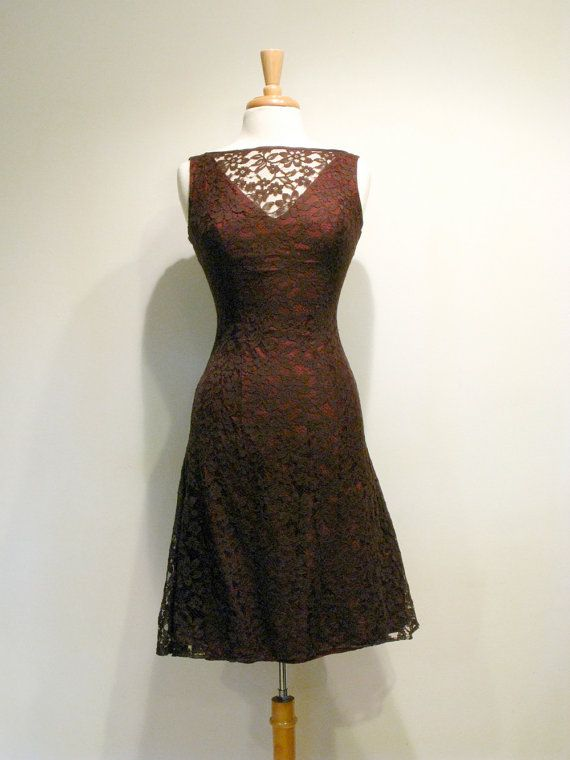 1950s Dress Chocolate Brown Lace Cocktail By