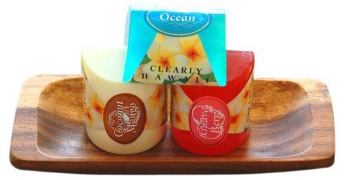 Maui Tropical Soaps Clearly Hawaii Glycerin Soap 3 Bar Gift Set On Monkey Pod Tray, 20-Ounce by Maui TrOpical Soaps. $19.99. This is a great gift for someone you care about, and also makes a wonderful affordable luxury when you deserve a little treat. Enjoy!. This set contains an assortment of 3 of our most popular fragrances, and they come dressed on a beautiful wooden tray.. We use  ingredients that speak for themselves. Clearly hawaii is no ka 'oi (the best)...