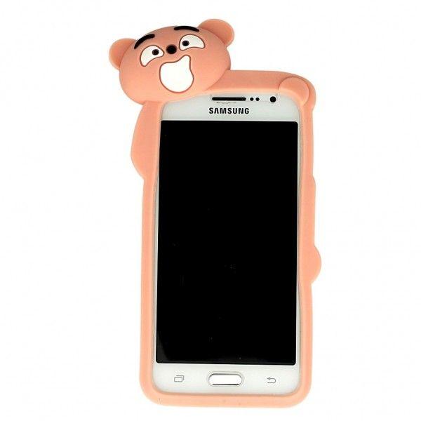 J500f Galaxy J5 Samsung Etui / pokrowiec Mr Bear różowy pudrowy MIŚ obudowa gumowa