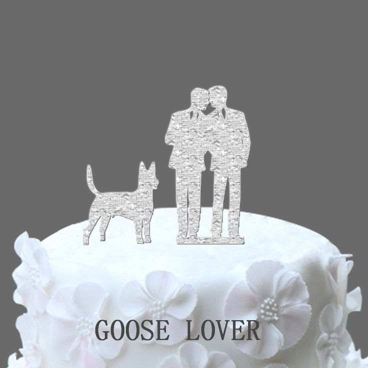 Rustic Acrylic Glitter Gold/Silver Cake Stand GAY Men Couple Cake Topper, Pet Dog Cake Supplies Party Decoration Supplies