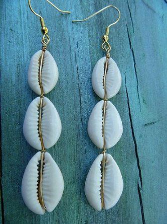 Island Jewelry Cowrie Shell Earrings Triple Cowry Brass or Silver Wire