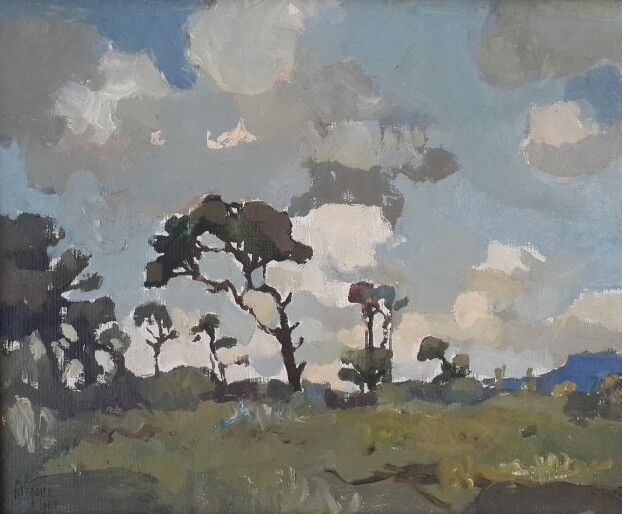 """Gregoire Boonzaier """" Apptoaching Storm Kenilworth. CP """" 1965 Oil on Canvas  This work is for sale , email us on art@arteye.co.za"""