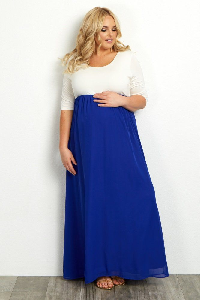 f9b4db961a8a A colorblock plus maternity maxi dress. Rounded neckline. Cinched under  bust. 3/4 sleeves. Chiffon bottom.