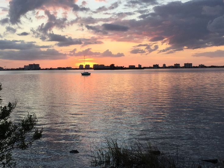 Sunset on the inter coastal waterway, Dunedin Florida. Looking at Caladesi Island. Please visit homebyhollyboutique.etsy.com for your beach bag needs.