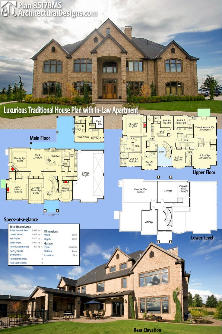 Architectural Designs House Plan 85178MS gives you over 8,800 square feet of luxury living if you build out the lower level. Ready when you are. Where do YOU want to build?