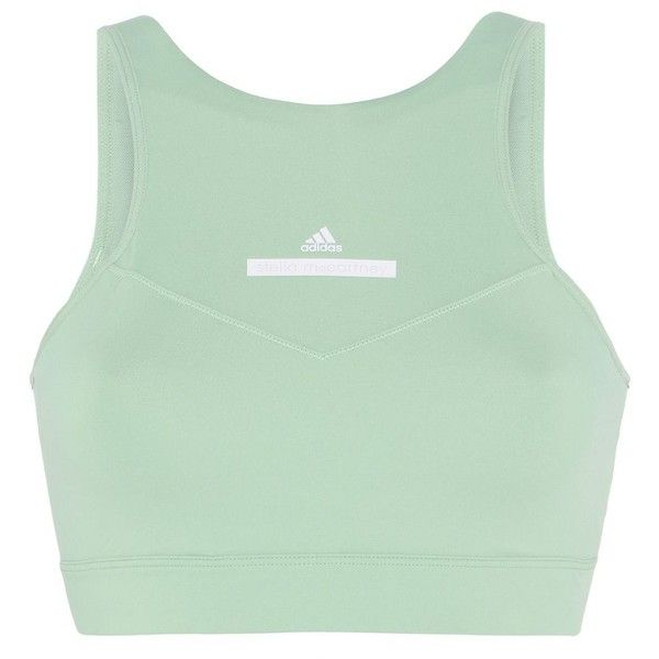 adidas by Stella McCartney Green High Intensity Bra ($60) ❤ liked on Polyvore featuring activewear, sports bras, tops, workout, green, green sports bra, logo sportswear, racerback sports bra, adidas sports bra and adidas