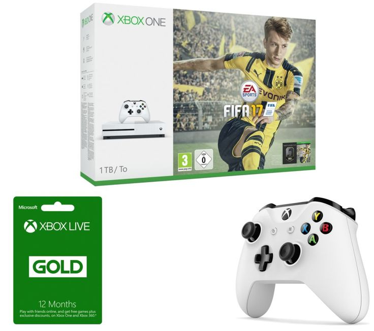 MICROSOFT  Xbox One S, FIFA 17, Xbox Wireless Controller & Xbox Live Gold 12 Month Subscription Bundle, Gold Price: £ 364.99 Take to the football pitch with the Microsoft Xbox One S, FIFA 17, Xbox Wireless Controller & Xbox Live Gold 12 Month Subscription Bundle . _____________________________________________________________ Microsoft Xbox One S with FIFA 17 The Xbox One S is an enhanced Xbox...