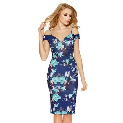 Quiz Navy And Aqua Flower Print Midi Dress