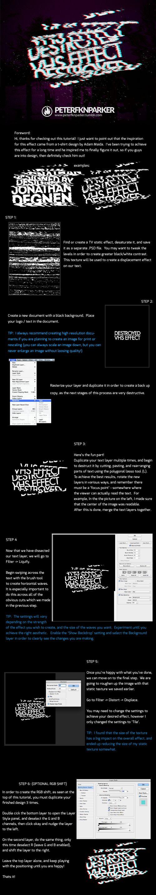 DESTROYED VHS EFFECT - Photoshop Tutorial by PETERFKNPARKER.deviantart.com on @deviantART