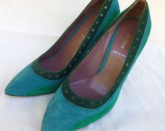 Vintage pompe Miu Miu, scarpe, inutilizzato, menta condizione, ponted, verde, camoscio, 37,5, metà secolo, retrò, moderno, fatto in Italia
